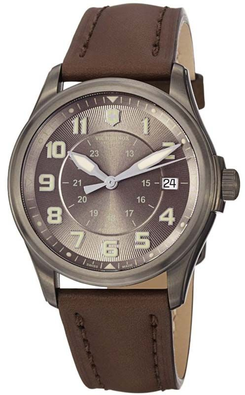 d8ac1d1ac10 Swiss Army Infantry Vintage Auto Brown Dial Leather Strap Mens Watch 241519  BY Swiss Army