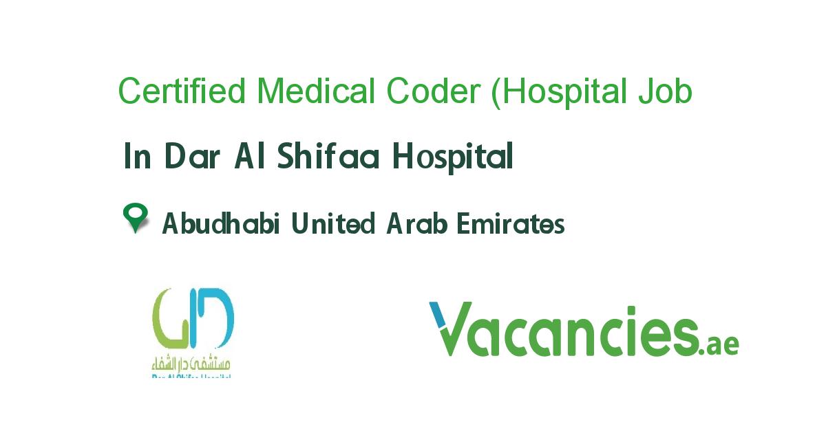 Certified Medical Coder Hospital Experienced In Uae Receptionist Jobs Healthcare Jobs Hospital Jobs
