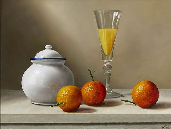 """https://www.facebook.com/MiaFeigelson """"Three tangerines and a white pot"""" By Johan de Fre, from Lokeren, Belgium (b. 1952) - oil on panel; 12 x 16 in - © Panter & Hall Gallery, London http://www.panterandhall.com/"""
