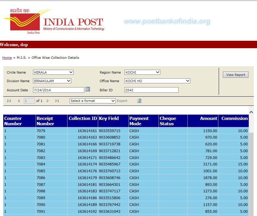 More Details Included In Epayment Mis Report Post Bank Of India Post Bank Of India Report