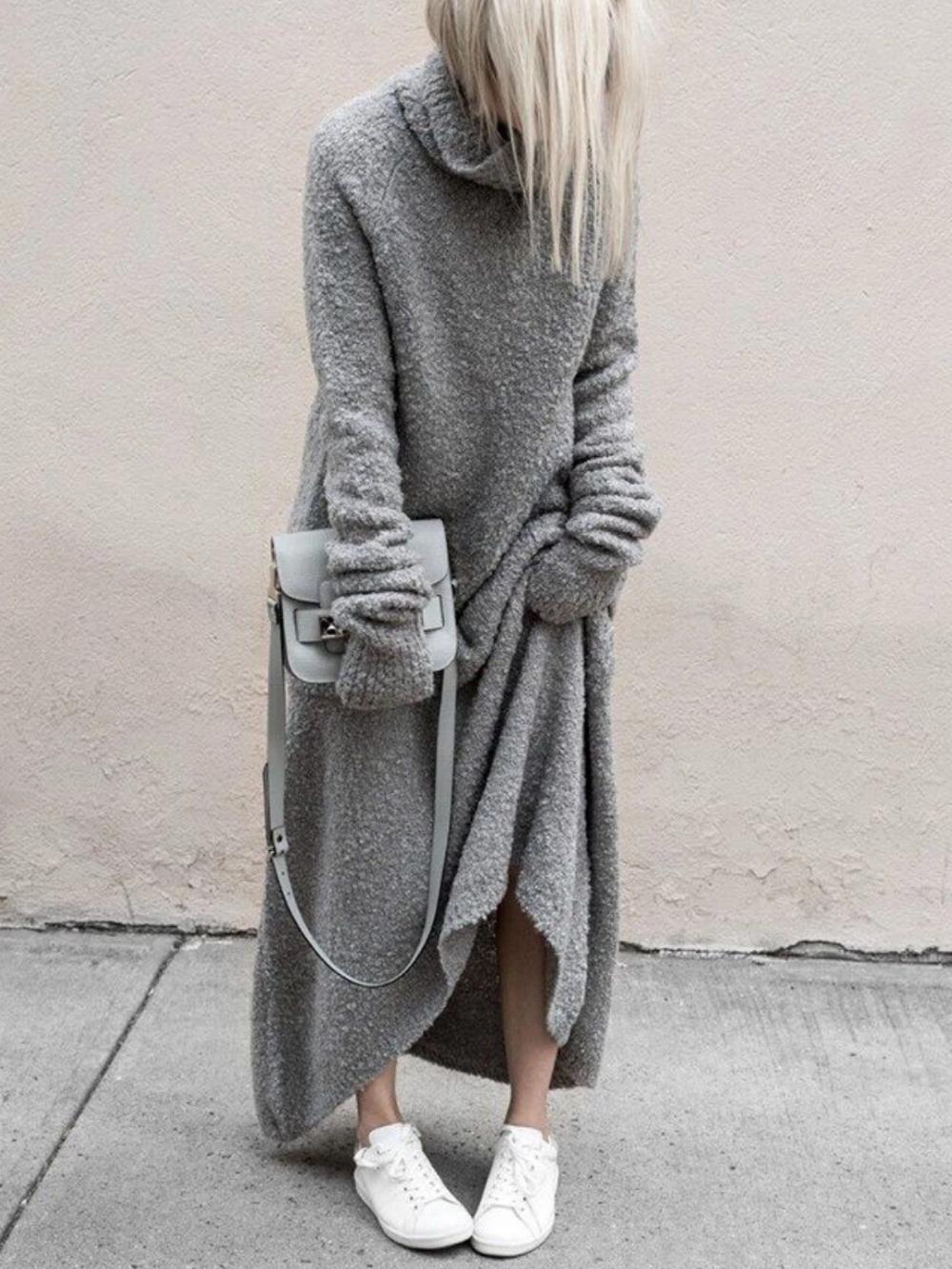 Onsoyours Damen Strickkleid Winter V-Ausschnitt Langarm Mini Pulloverkleider Casual A-Linie Shirtkleid Freizeit Kleider Mit G/ürtel