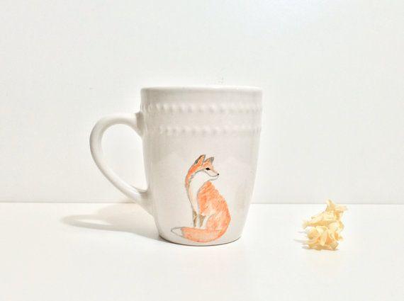 Silver sketch effect fox. Hand painted personalized mug. Fox mug. Animal mug.