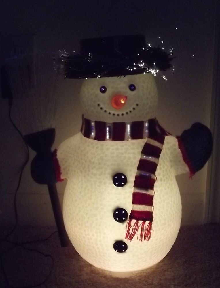17 inch fiber optic snowman ever changing colors christmas decoration
