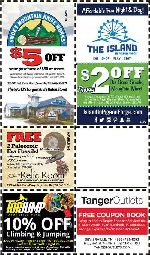 Get the best Pigeon Forge coupons including discounts, discount tickets, and coupons for restaurants, lodging, attractions, and more in Pigeon Forge, TN! Smoky Mountain Opry Coupon Titanic Museum Ripley's Gatlinburg Aquarium Hatfield and McCoy Dinner Show WonderWorks Country Tonite Zip Line Coupons.