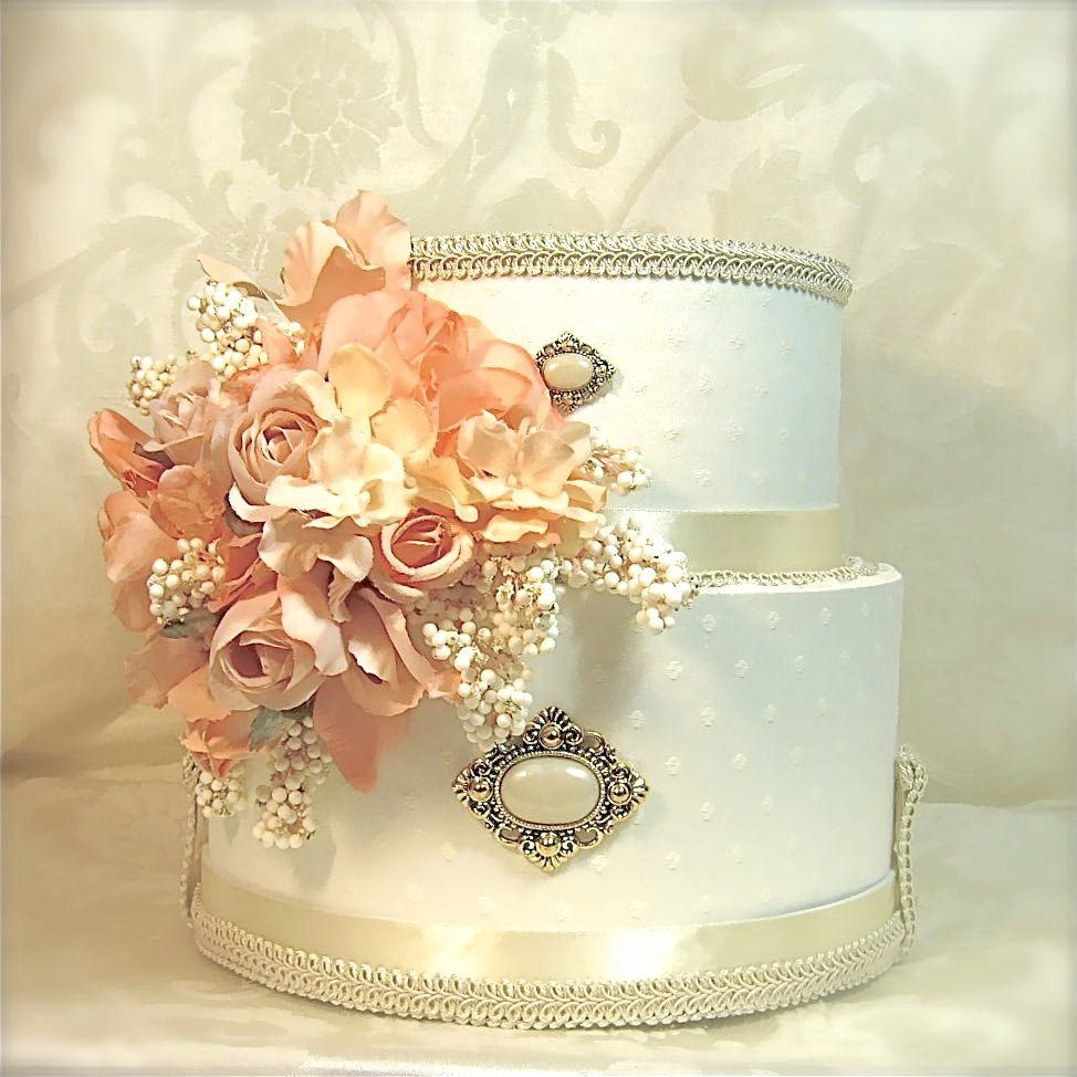 Peach Cream Wedding Card Box Holder Secure Lock Two