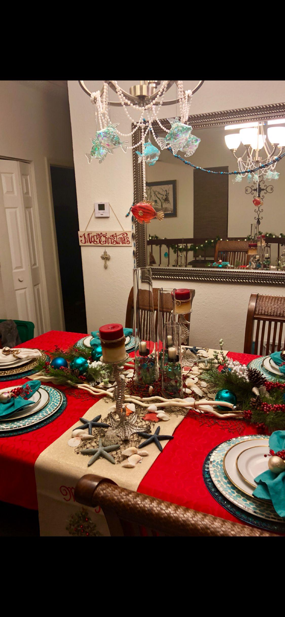 Beach Theme Christmas | Mermaid christmas, Christmas table ...