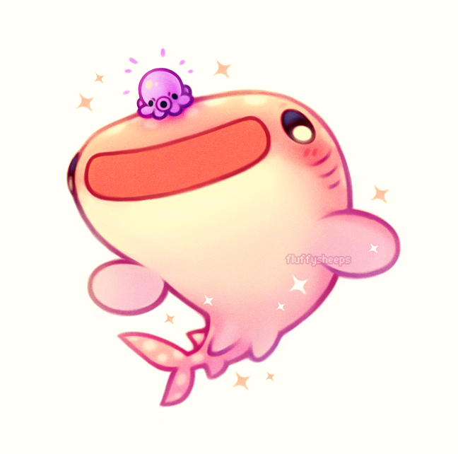 Slushie The Pink Whale Shark And Grape The Angry Octopus Adorable