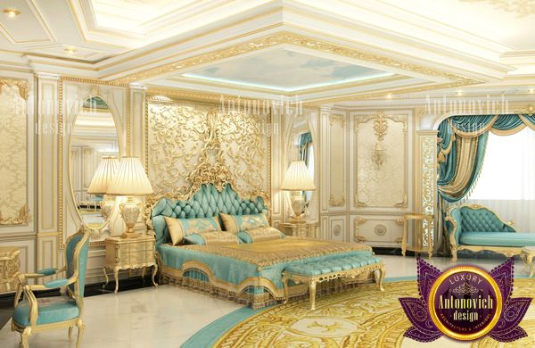 astonishing blue gold bedroom   Perfectly selected furniture by our professionals combines ...