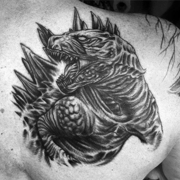detailed black godzilla angry tattoo on guy godzilla friends tattoos pinterest. Black Bedroom Furniture Sets. Home Design Ideas