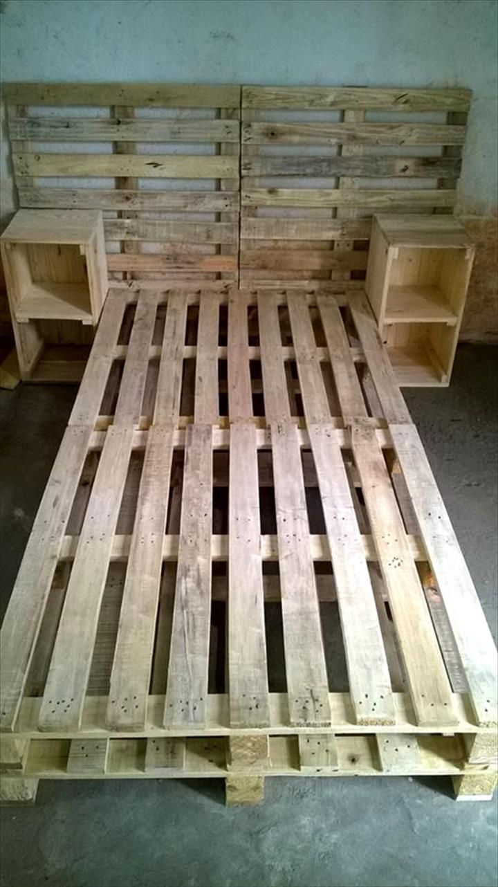 Pallet bed frame with side tables and headboard 30 easy for Pallet ideas