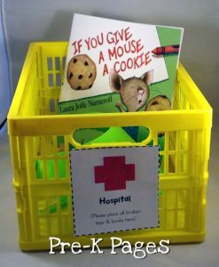 "Book and toy ""hospital"". <3this idea for all the books they rip and toys they break and bring to me when I am way too busy to deal with it"