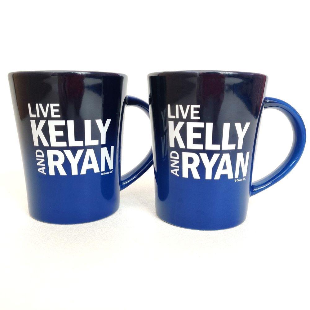 Kelly And Ryan 2020 Christmas Mugs Live with Kelly and Ryan Mugs Lot of 2 Gradient Blue Coffee Ripa
