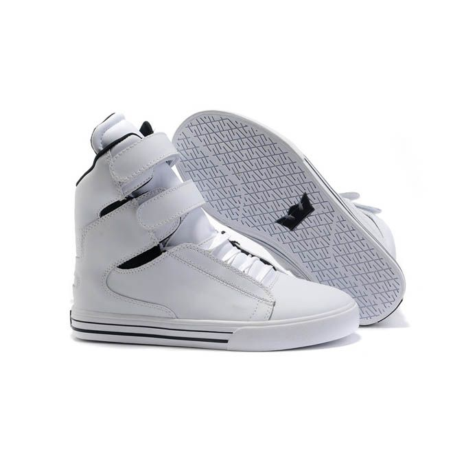 Women All White Leather High Top Supras Tk Society Skate Shoes