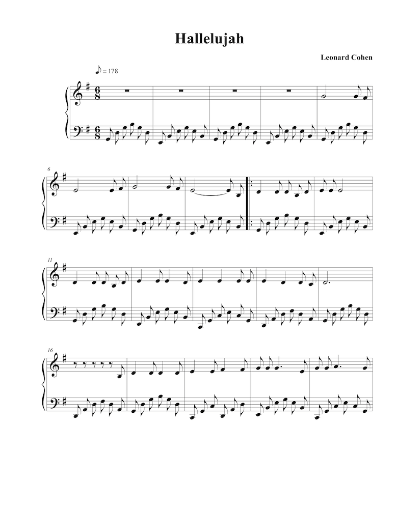 Piano corpse bride piano duet sheet music : Brian Crain's arrangement of Leonard Cohen's Halleluiah | Piano ...