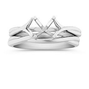 Swirl Solitaire White Gold Wedding Set