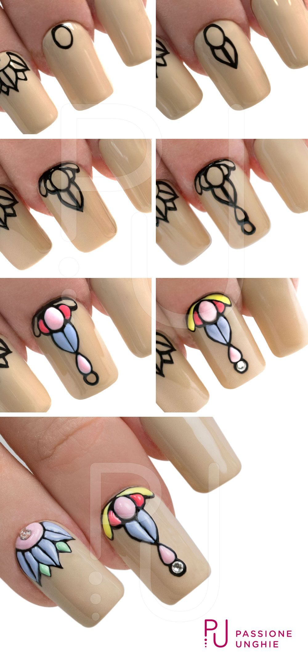 stained glass-esque nails