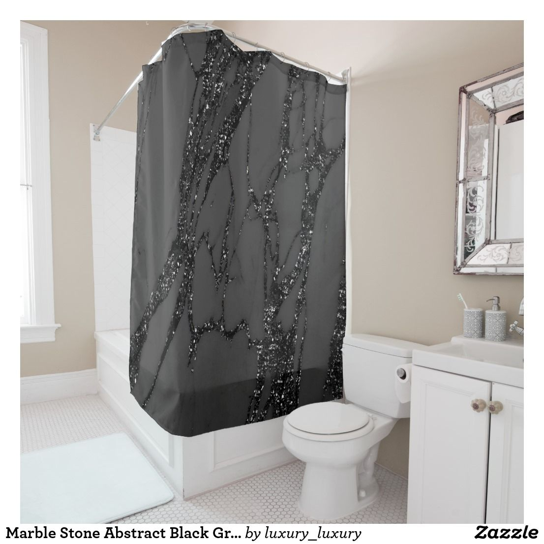 Marble Stone Abstract Black Graphite Glitter Gray Shower Curtain