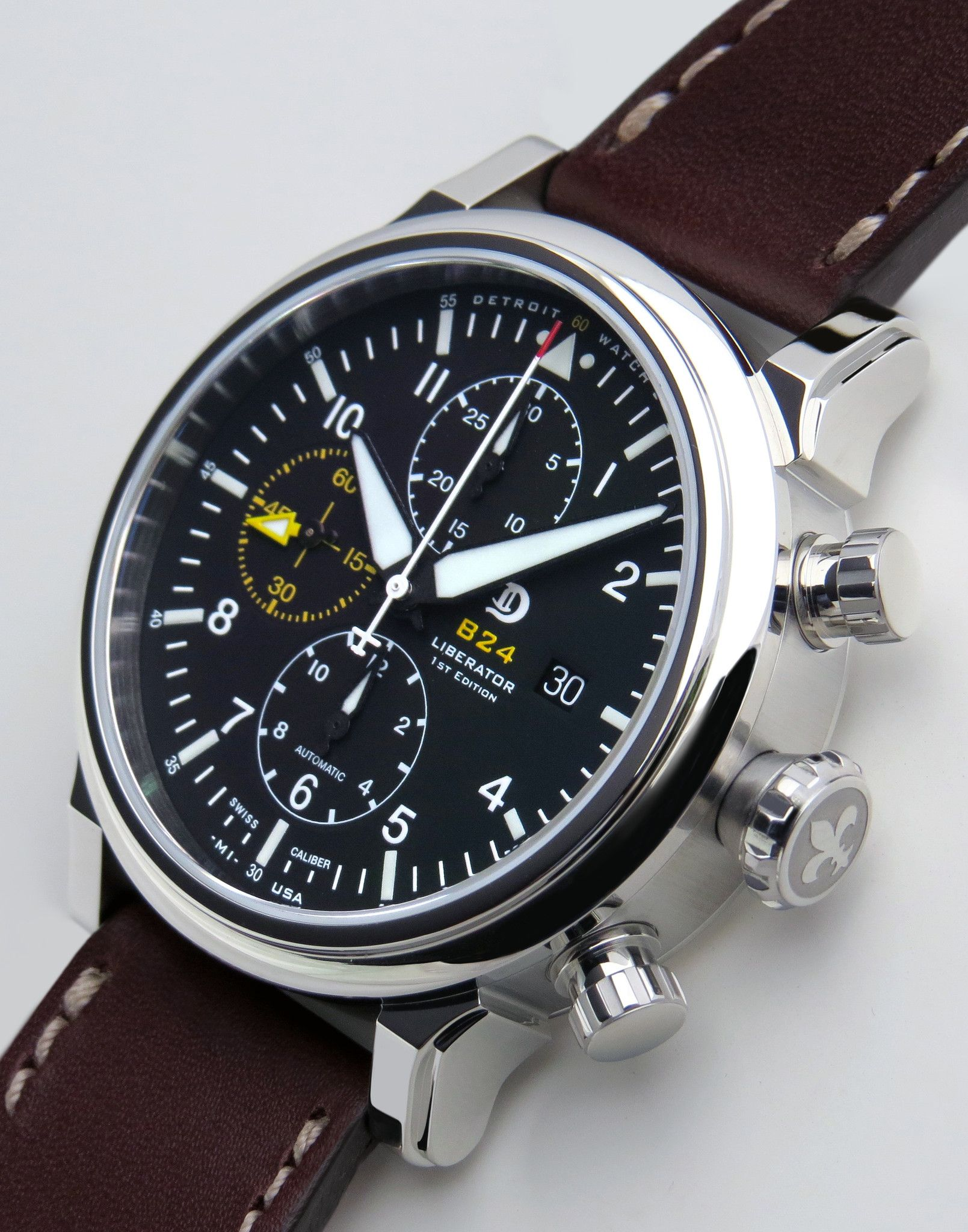 chronograph watch series leather watches men wristwatch mens pilot military quartz black strap products s aviator f