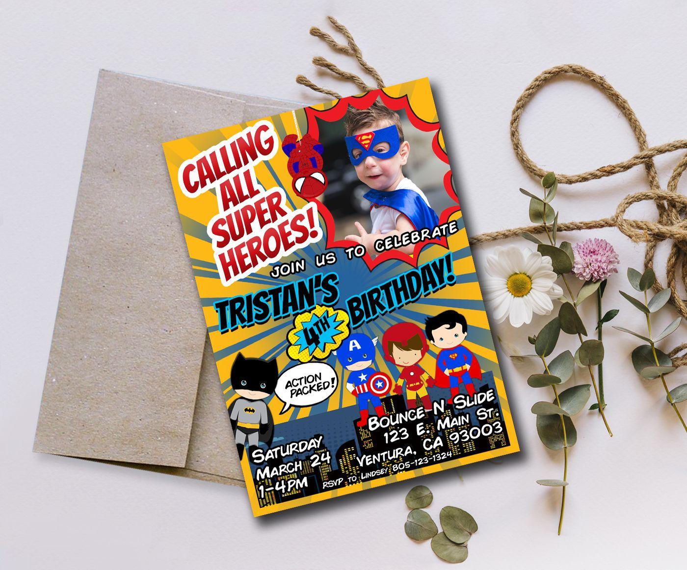 Superhero Birthday Invitation Superhero birthday