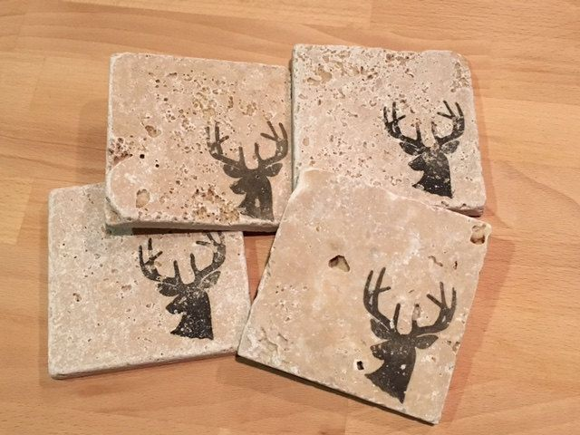 Items similar to Hand St&ed Tumbled Marble Deer Coasters Hunting Coasters Hunting Decor Beer Coasters Drink Coasters Outdoor Decor on Etsy & Deer Coasters Hunting Coasters Hunting Decor Beer Coasters Drink ...