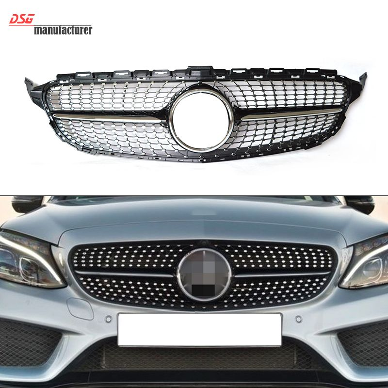 mercedes w205 abs plastic front diamond grill grille for. Black Bedroom Furniture Sets. Home Design Ideas