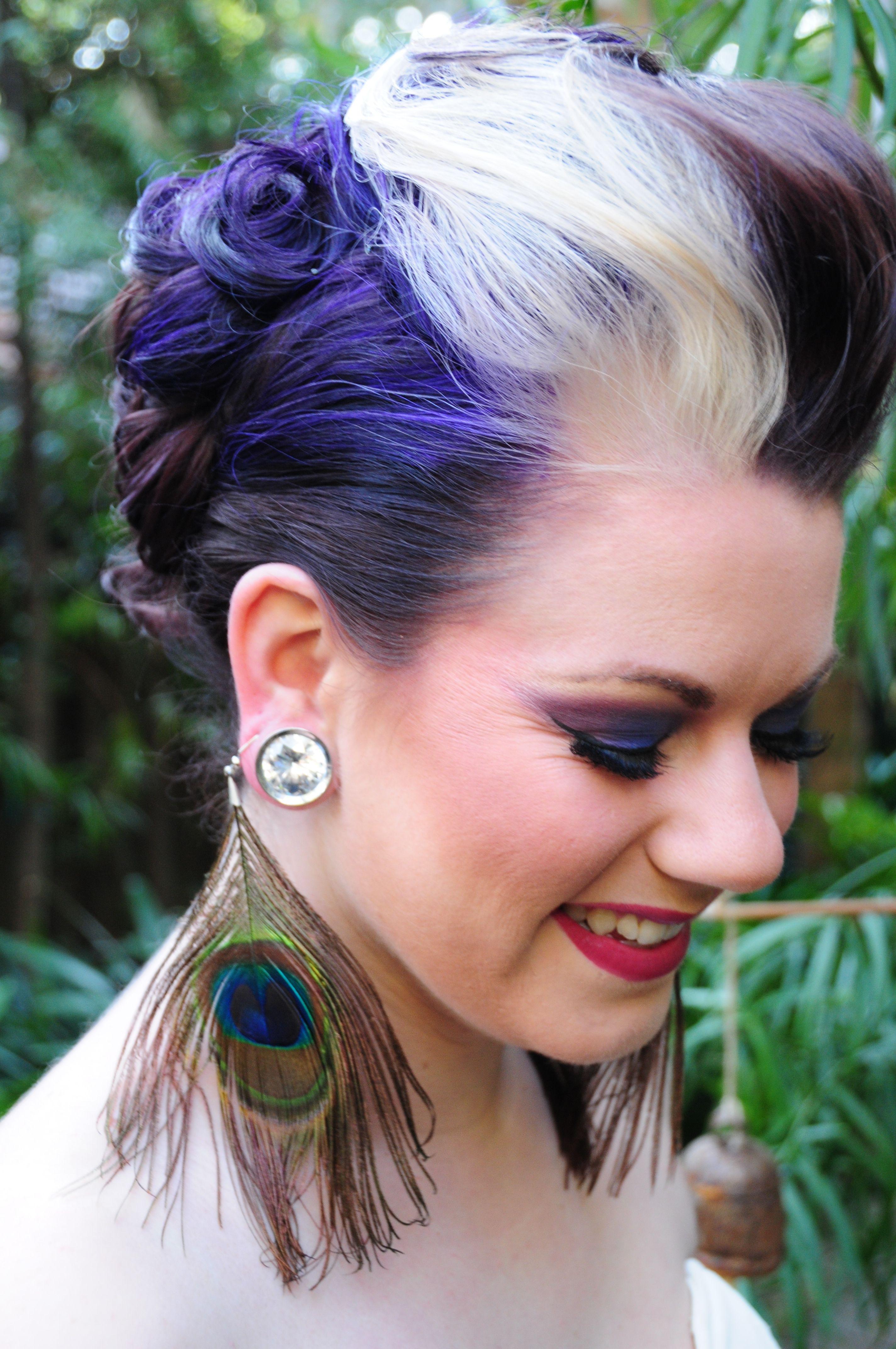 purple hair platinum blonde streak updo fohwak femhawk