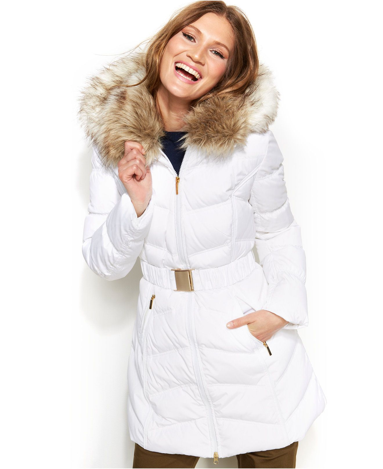 Laundry By Shelli Segal Faux Fur Hooded Down Puffer Coat