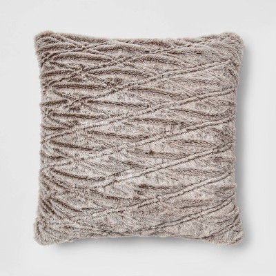 Euro Solid Ruched Faux Fur Throw Pillow Threshold™ Fur