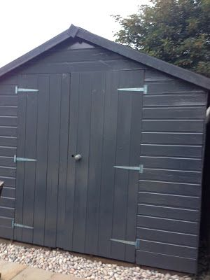 battleship greygray shed all the pretty things the difference paint makes - Garden Sheds With A Difference