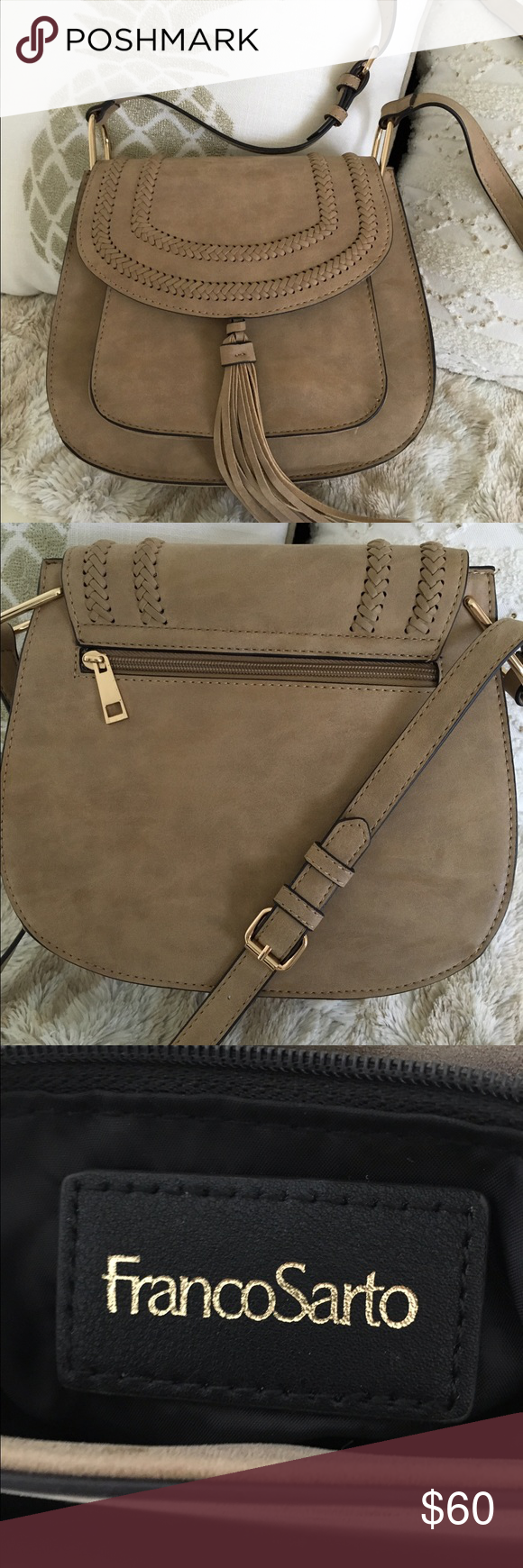 Franco Sarto Crossbody Bag Chloé Inspired Beautiful Faux Suede By In