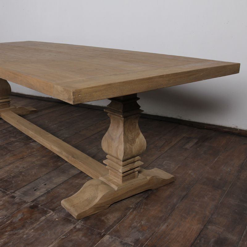 Gorgeous Trestle Teak Dining Table Distressed Wood Dining Table
