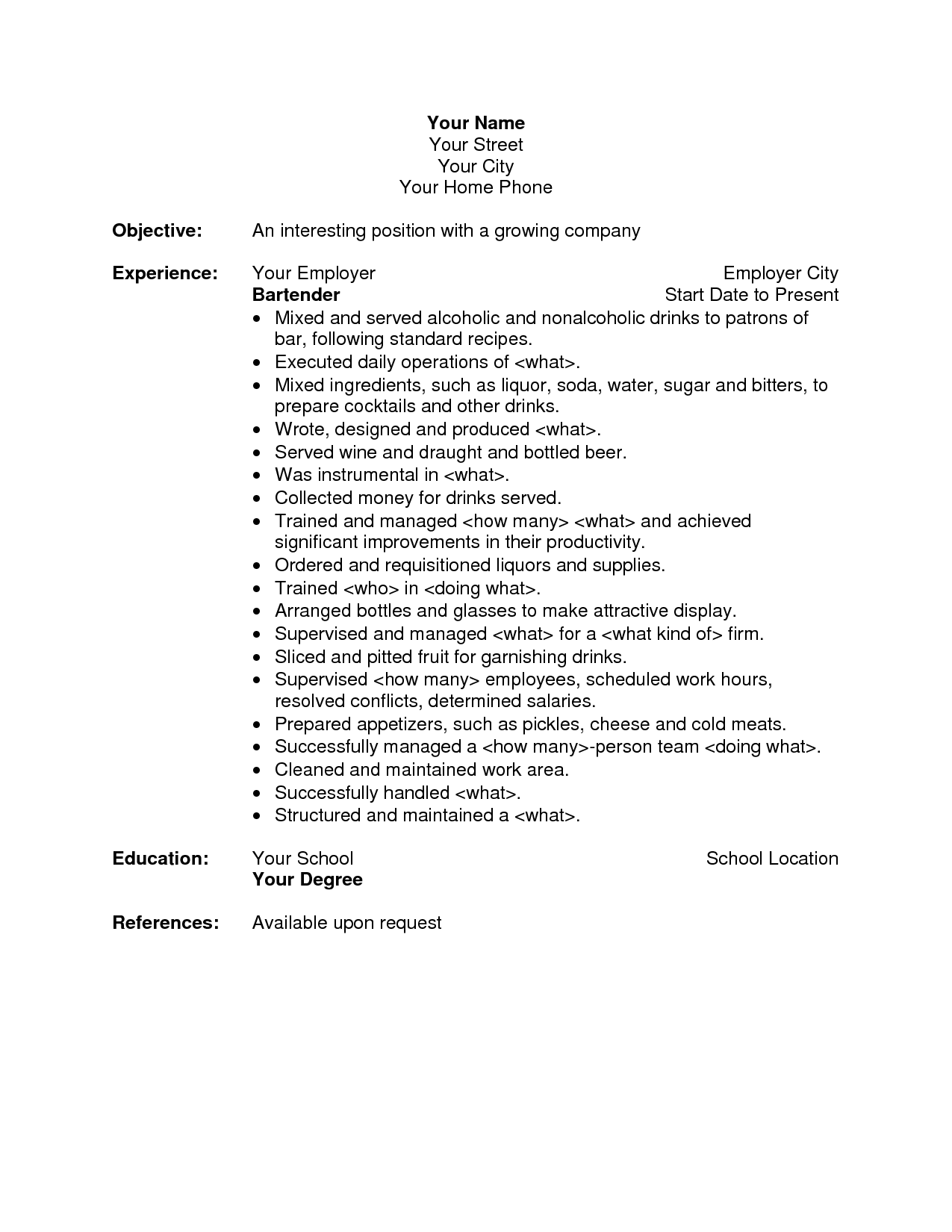 Bartender Resume Objective Funeral Director Resumesales Executive Resume Sample Job
