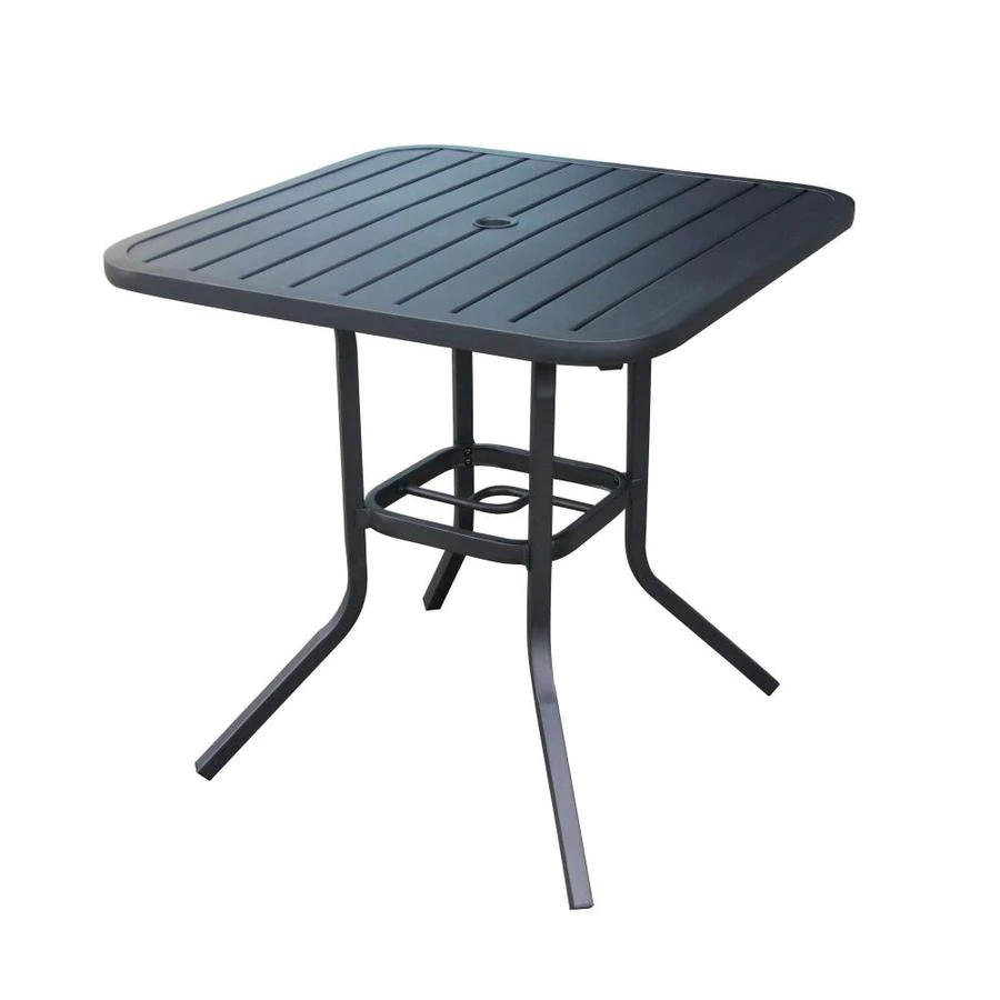 Style Selections Pelham Bay Square Outdoor Bistro Table 33 In W X 33 In L With Umbrella Hole Lowes Com Bistro Table Outdoor Outdoor Dining Table Resin Patio Furniture Bistro table with umbrella hole
