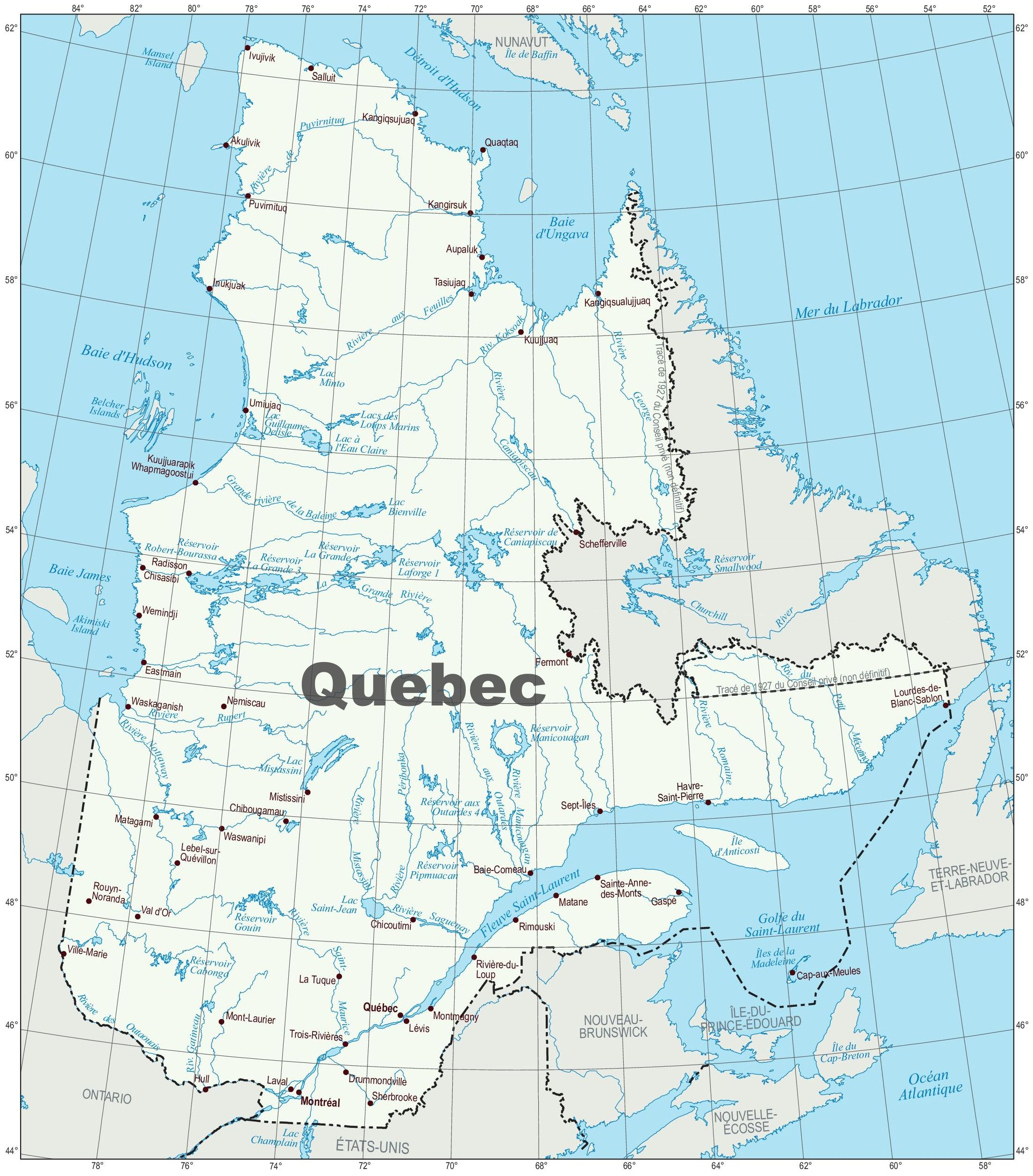 map of quebec canada with cities most curious map images