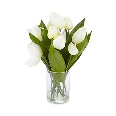 Debenhams White Vase Of Artificial Tulips Debenhams Decor