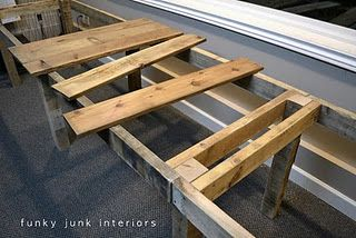 turn old pallets into a long rustic desk  or an outside dining table