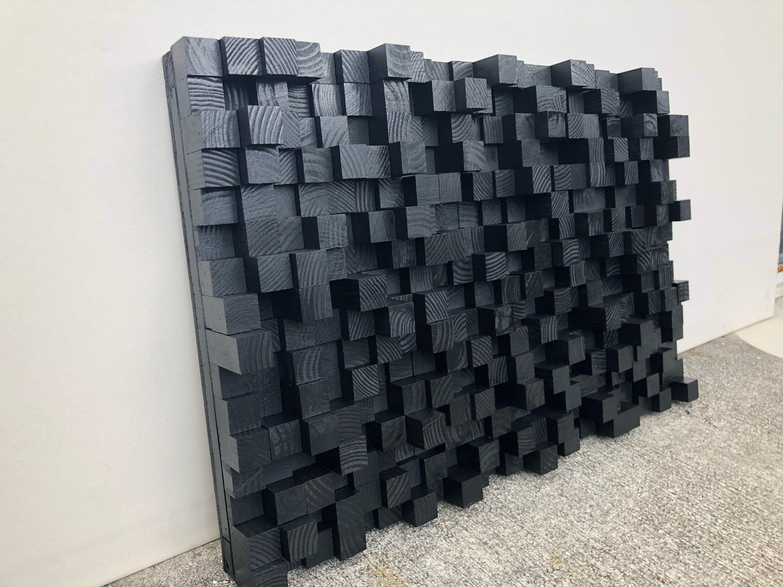 Studio Wooden Sound Diffuser Acoustic Panel Soundproofing Proof Pixel Art Black Wood Art 3d Art Wooden Art Acoustic Panels Wooden Art Sound Panel
