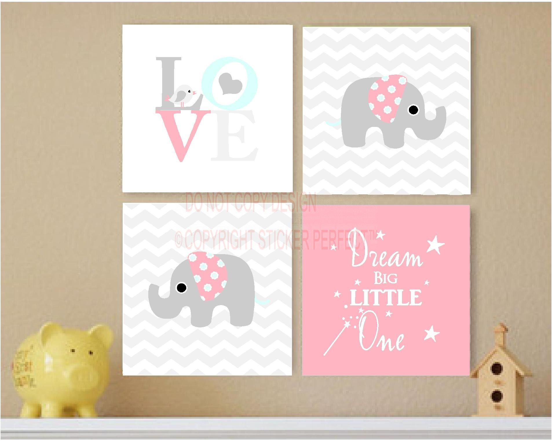 Love Plaques Quotes Framed Canvas Print Love 4 Piece Set 2 Cute Elephant Bird