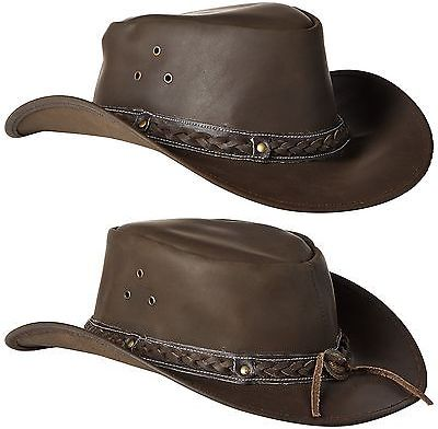 eb908da2afe7a Western Hats 31155  Down Under Leather Hat Brown Medium -  BUY IT NOW ONLY