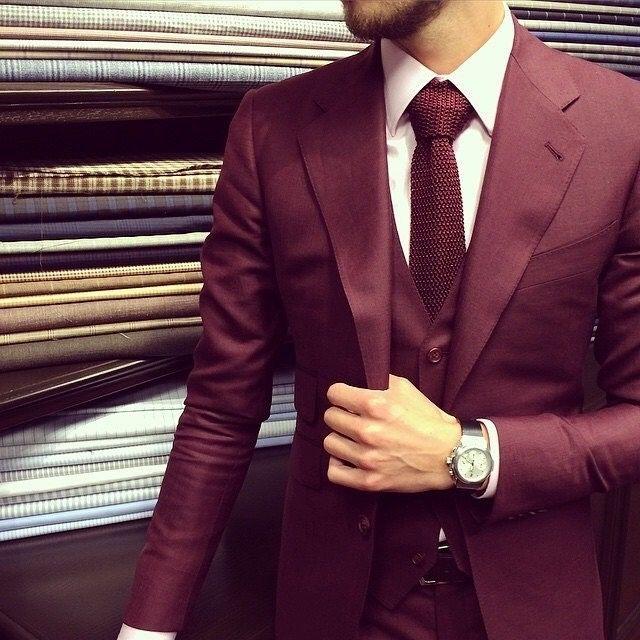 Burgundy Men Suits Groom Tuxedo Men Suits Slim Fit 3 Piece Prom Blazer Suit new
