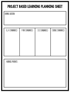 Project Based Learning Planning Sheet Project Based Learning Problem Based Learning How To Plan