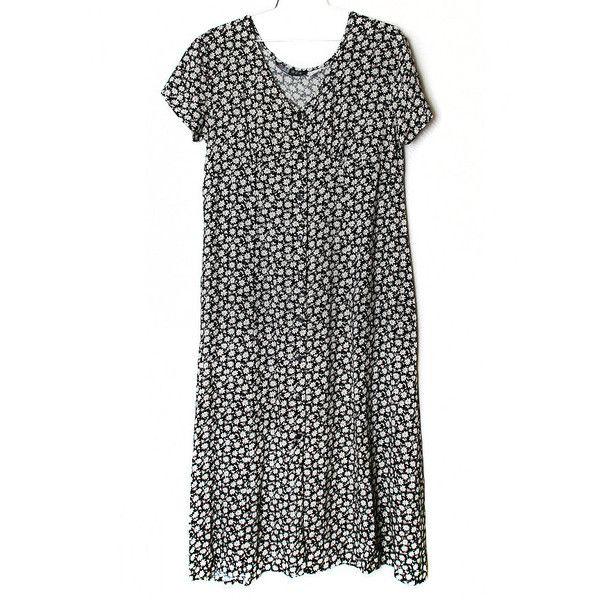 90s Grunge Short Sleeved Midi Dress With Black And White Floral