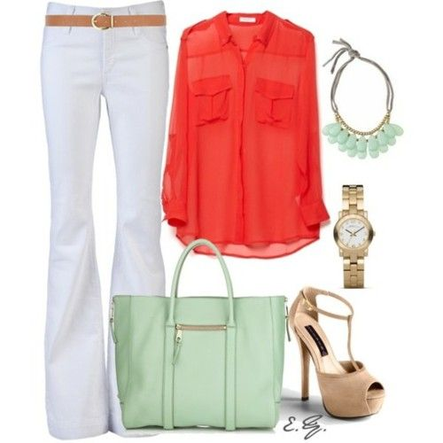 coral and mint green
