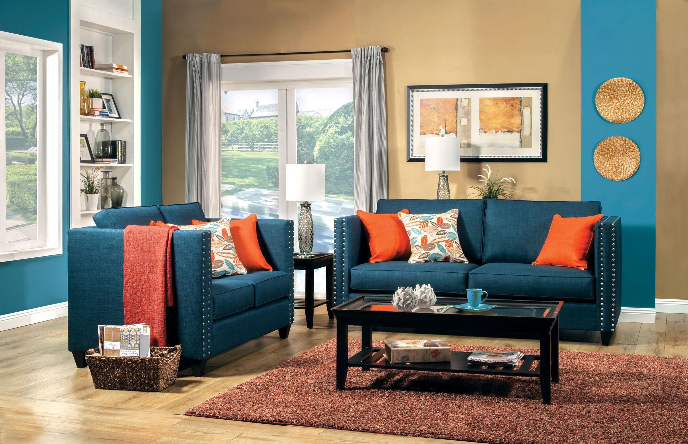 Home Living Room 2 Pcs Turquoise Blue Sofa Set