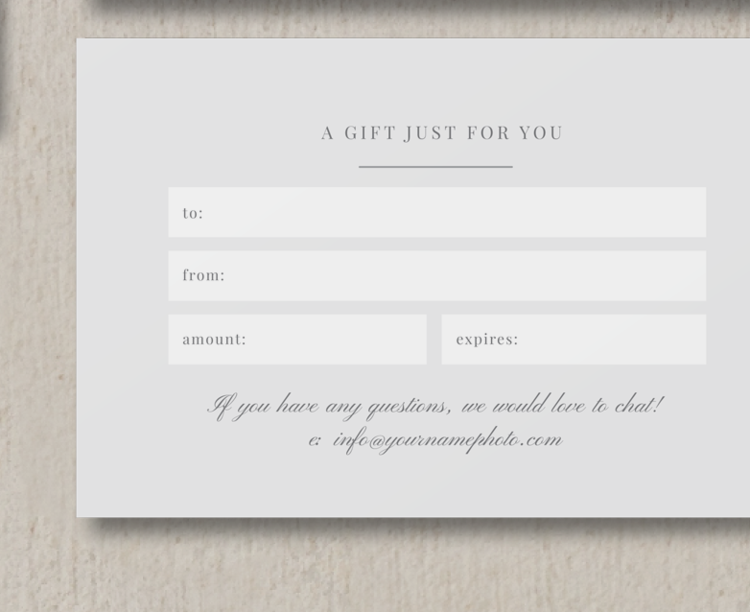 Photo gift card template photography promo card bittersweet photo gift card template photography promo card bittersweet design boutique yelopaper Gallery
