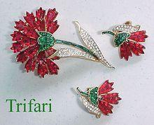 Fantastic TRIFARI Invisibly Set Faux Rubies & Emeralds Flower Pin & Earrings!