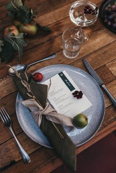 Autumn inspired table setting with grey plates and white and navy stationery. Images by Mariola Zoladz weddingreception  Autumn inspired table setting with grey plates and white and navy stationery. Images by Mariola Zoladz weddingreception