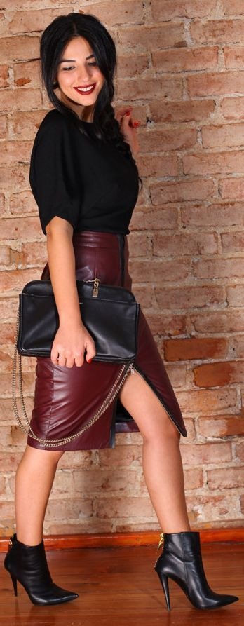 some ways to wear leather skirt this winter style for