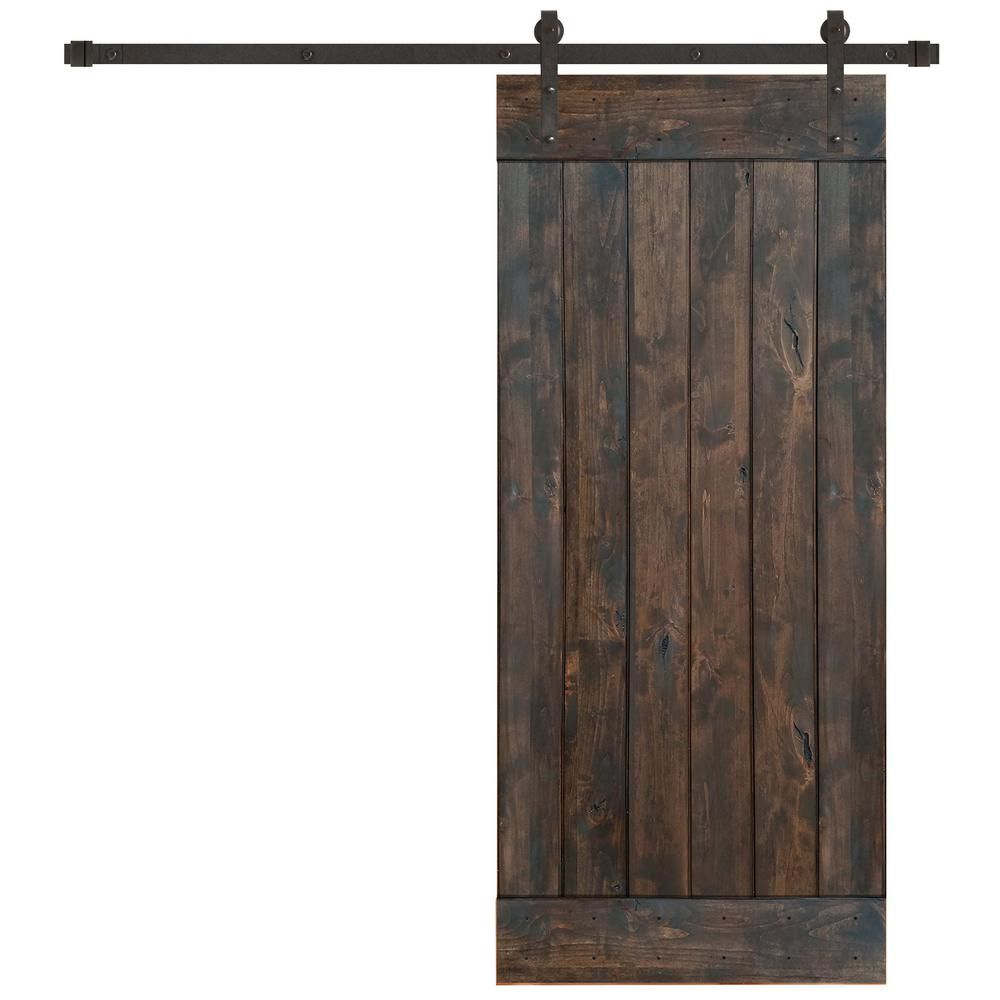 Pacific Entries 36 In X 84 In Rustic Espresso 1 Panel Knotty Alder Sliding Barn Door Kit With Oil Rubbed Bronze Hardware Kit Ea3110 36 10b The Home Depot Barn Doors Sliding Barn