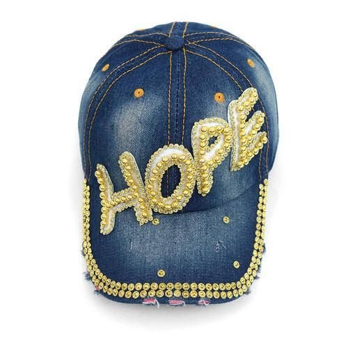 e08397afd Bling HOPE 100% denim ball cap | hats | Baseball hats, Hats, Hats ...